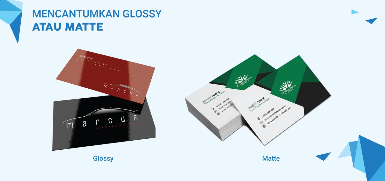 Print Glossy atau Matte   Jasa Desain & Cetak Kartu Nama